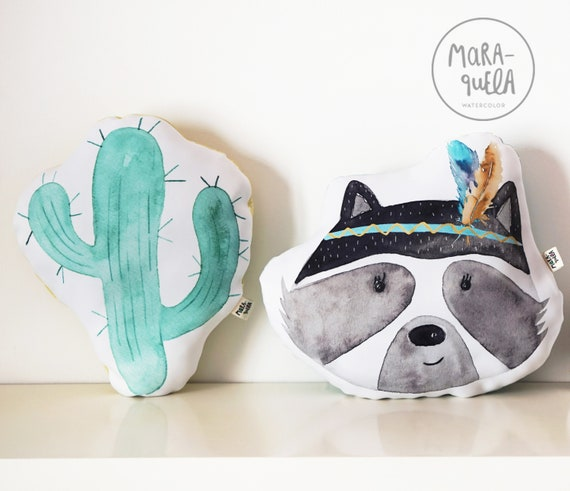 SET Cojines: Mapache y cactus/ Cactus and Raccoon Cushions SET