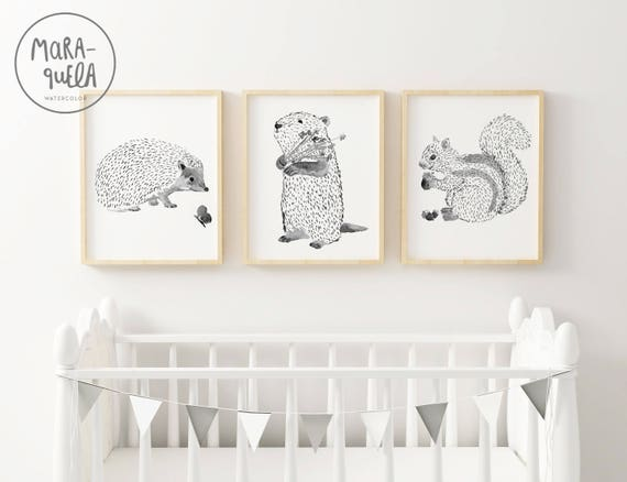 Woodland ANIMALS SET. Black and white, nursery decoration. SET Animales de bosque.