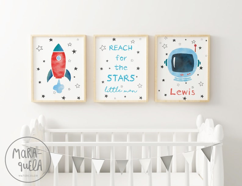 Little ASTRONAUT SET  Space decor for kids and baby  Blue With name/Con nombre