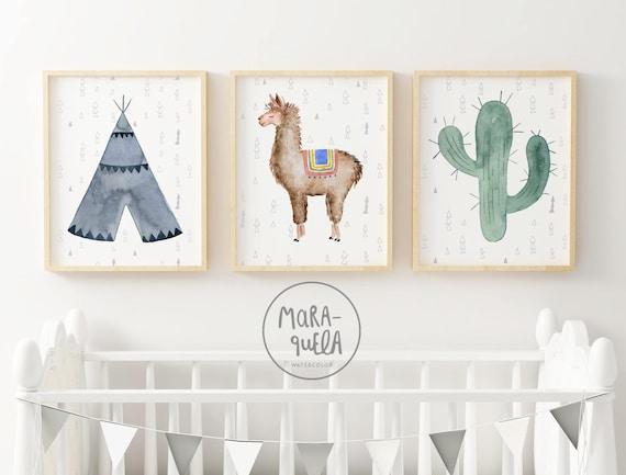 Set Llama, Tipi y cactus. Tonalidades azul y verde