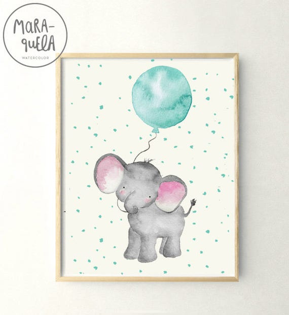 Elefante con globo azul / Little ELEPHANT teal BLUE balloon Watercolor