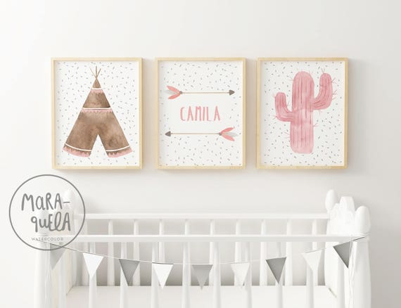 Set infantil para niña - Tipi, cactus y flechas con nombre personalizado