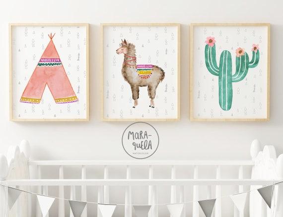 Set Llama infantil, tipi y cactus. Tonalidades rosas y verdes / Llama Set - Tepee, llama, cactus in pink and green hues