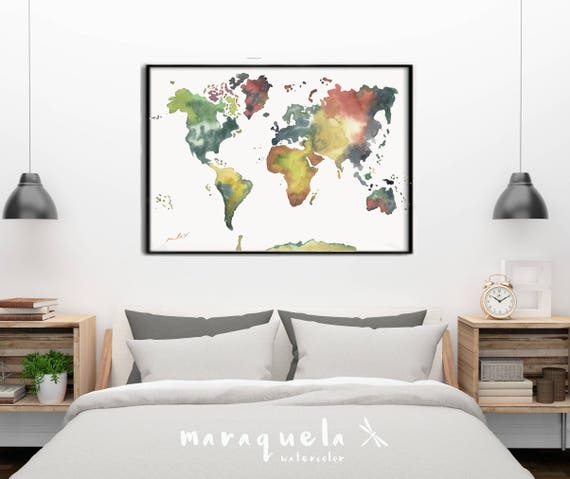 WORLDMAP illustration WATERCOLOR, EARTH colors tone map, umber, ochre, and sienna, home decor,living room,elegant colors, yellow ochre,brown