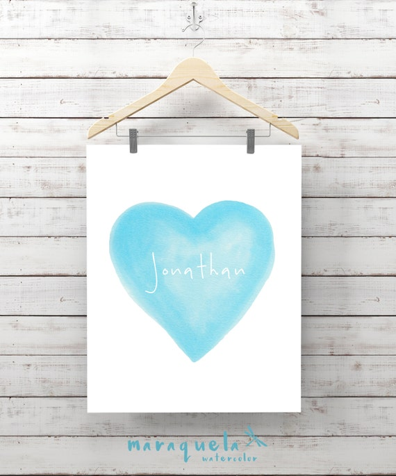 CUSTOMIZED BLUE HEART watercolor with personalized name. Custom Newborn gift. Wall Nursery art Watercolor Heart Art Boy Babies, bedroom art