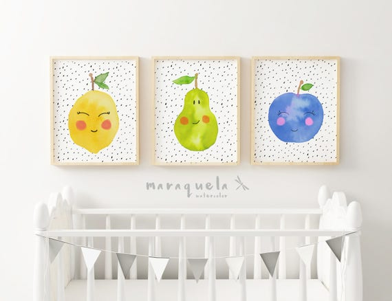 Láminas FRUTAS, sonrisas / FRUITS Set for baby. Lemon pear and apple smiling