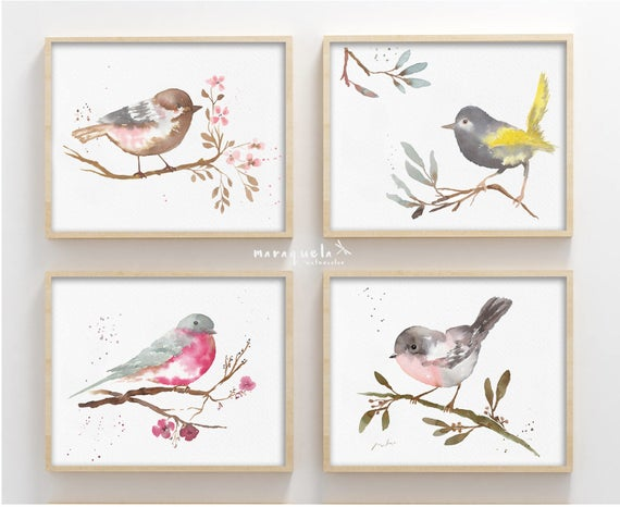 SET ilustraciones PAJARITOS, acuarela / BIRDS illustrations Set in watercolor