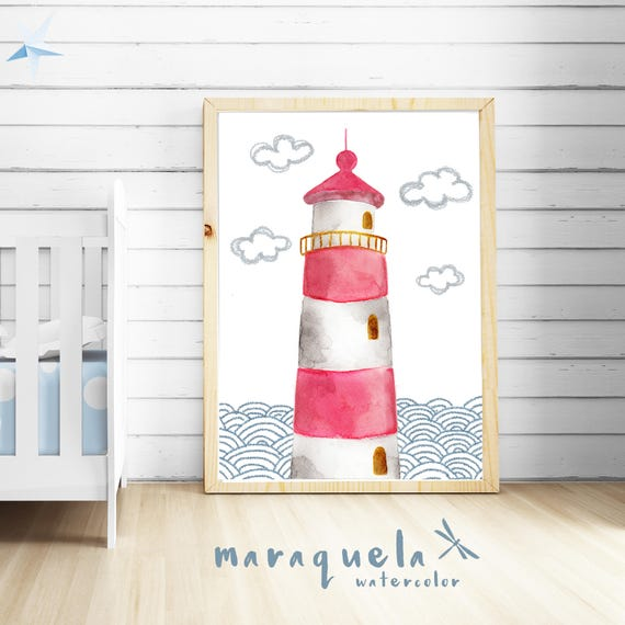 LIGHTHOUSE watercolor with WAVES baby illustration Newborns. lighthouse print Nursery Nautical Red lighthouse art Beach house, Child's room