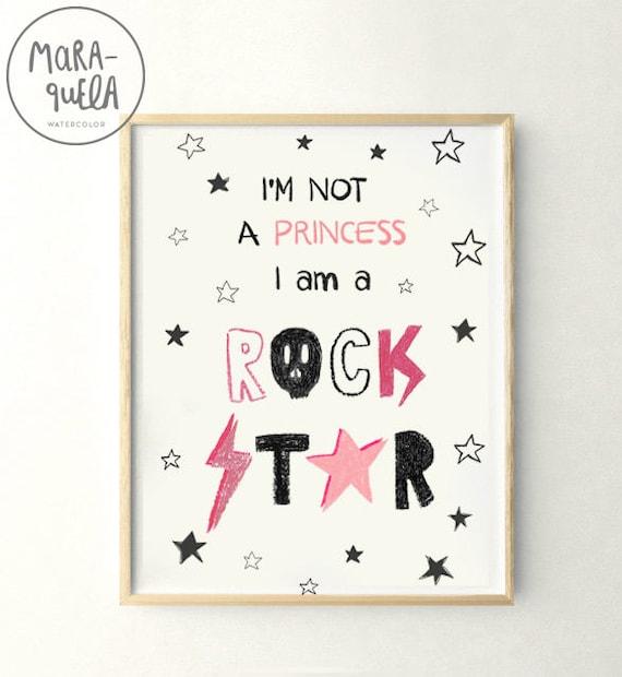 Lamina infantil 'I'm not a princess,  I'm a ROCK STAR'. No soy una princesa, soy una estrella del rock. Decoracion par Bebe niña