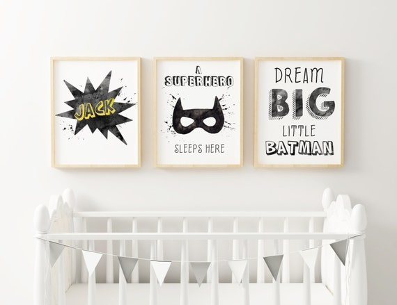 SET Personalizado BATMAN. Un superhéroe duerme aquí / Batman Set. A superhero sleeps here