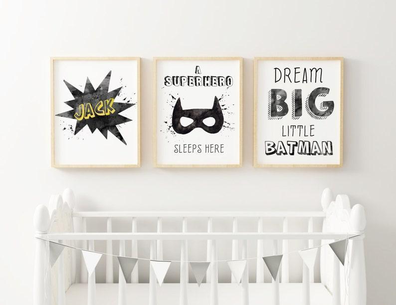 SET BATMAN  little Superhero  Black and white decor  image 0
