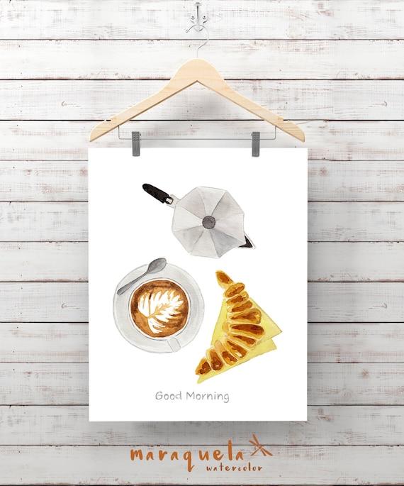 BREAKFAST illustration, coffee, croissant and moka pot Italian decor small machine, Wall Art cappuccino, Culinary print, Kitchen restaurant