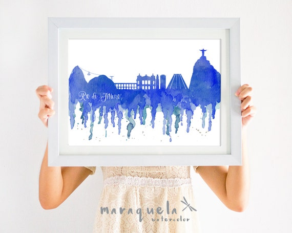 RIO de JANEIRO BRASIL Skyline watercolor pink or blue shades, skyliner Brazil, art print, poster, gift decoration Rio Janeiro trip, wall art