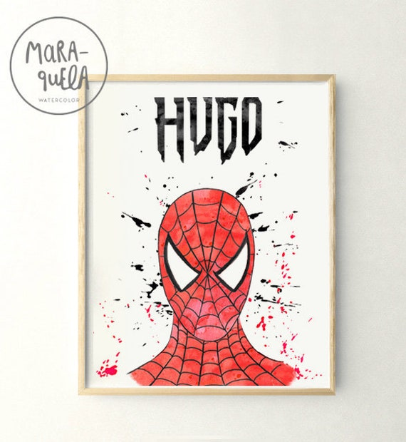 Lámina Hombre Araña / Spiderman illustration in watercolor