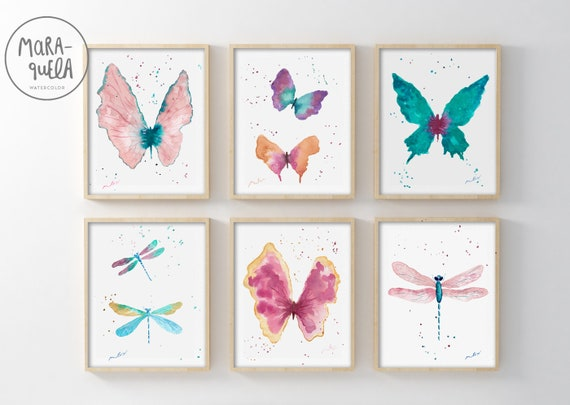 Set of 6 Butterflies and Dragonflies
