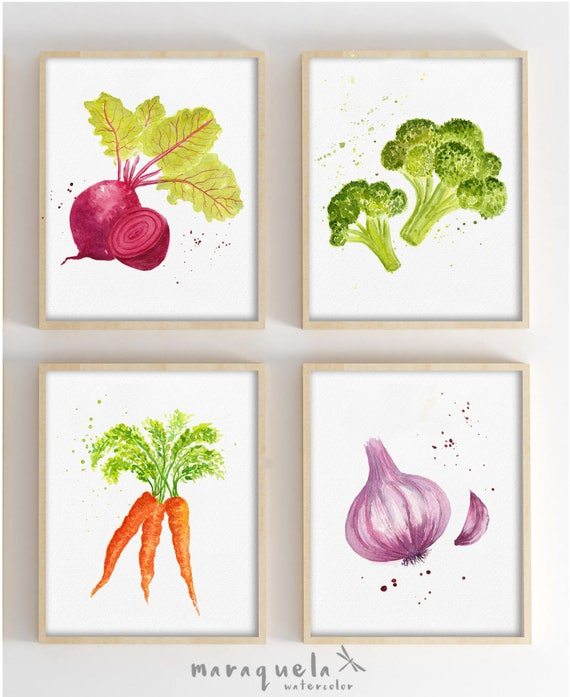 SET Vegetables. Kitchen decor.  Beetroot, broccoli, carrot and garlic.