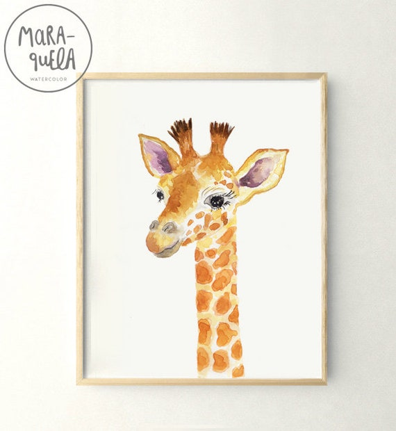 JIRAFA infantil - Acuarela. GIRAFFE illustrations for Kids in watercolor