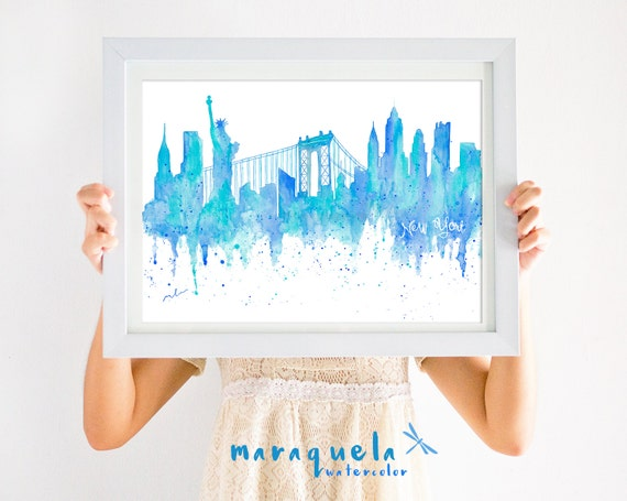 NewYork Skyline Blue hues, watercolor, skyliner NY, USA , art print, poster travel gift new york, decoration trip, wall art nueva york print
