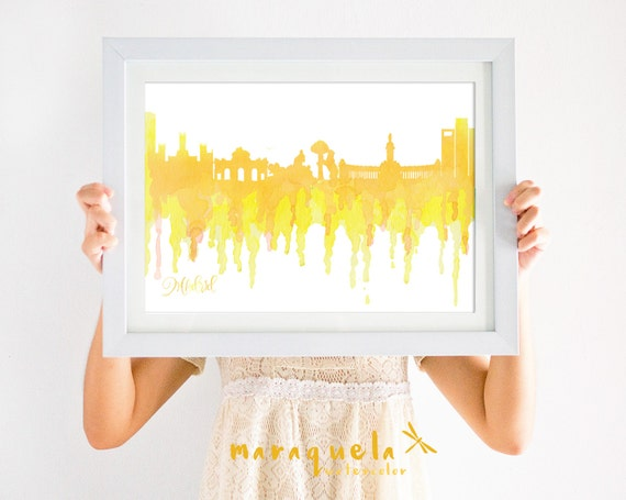 MADRID Skyline Spain, YELLOW hues illustration in watercolor, skyliner Marid trip Spain artprint, poster gift decoration city España Espagna