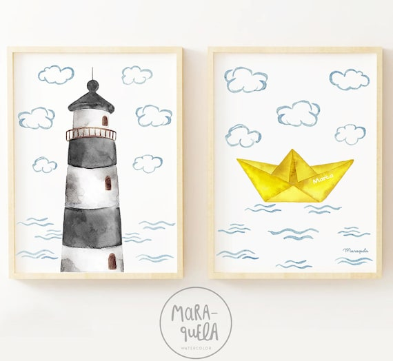 FARO y BARCO de papel gris y amarillo / Gray Lighthouse and Yellow Paper boat