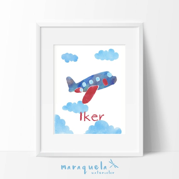 Nursery AEROPLANE Personalized illustration for kids, personalised name,child 's room, baby boy shower,boys prints room,wall children, art