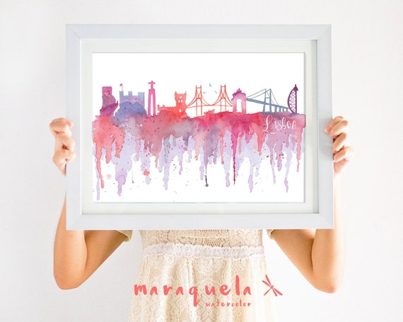 LISBON SKYLINE watercolor hand-made, SUNSET colours. Painting skyline cidade Lisboa Portugal, made in portugal, city skyline lisboa art wall