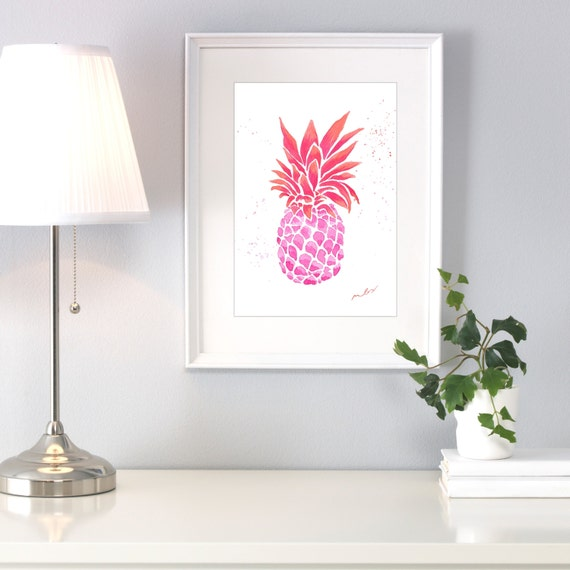 Pineapple bright vibrant colors watercolor. Artwork, decoration, ananas, colorful, funny, ideas decor living-room, fruit original pineapple