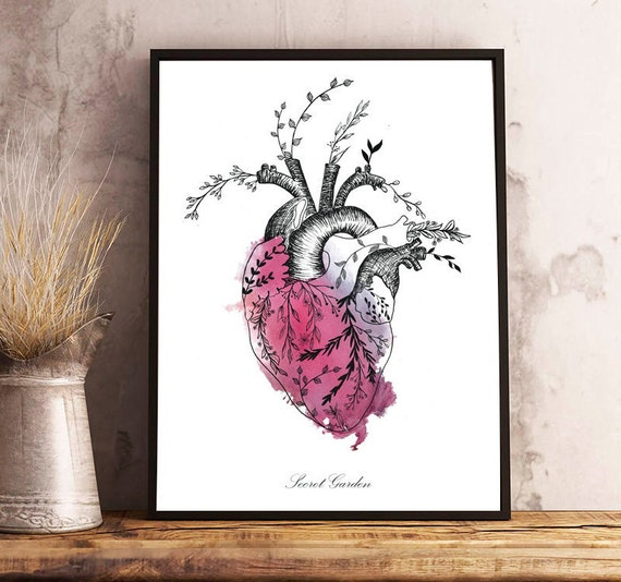 Floral HEART watercolor,anatomy,flowers,dark red,romantic style,quote,modern decor,wall art,drawing,illustration,original gift,lovely print