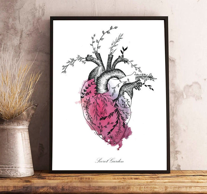 Floral HEART watercolor,anatomy,flowers,dark red,romantic style ...