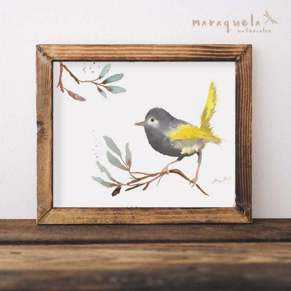 BIRD I  illustration Watercolor Collection, art print birds, animals, nature, elegant birds, gray and yellow,home decor,sweet birds painting