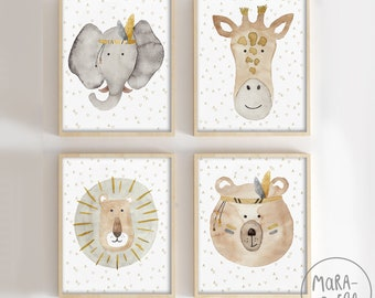 Leonardo Grizzly Set - Lion, grizzly bear, elephant and giraffe. Gray, brown and yellow mustard.