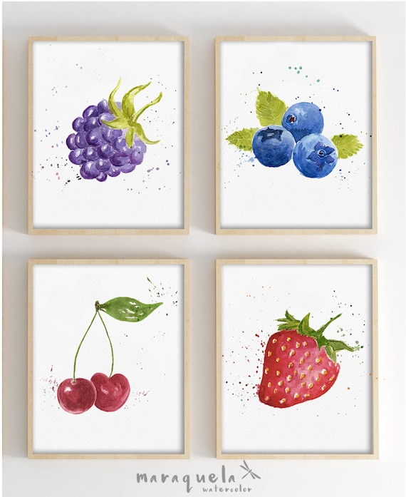 DISCOUNT SET OF 4 Fruits in Watercolor. Blackberry, Strawberry, Blueberry Cherry.