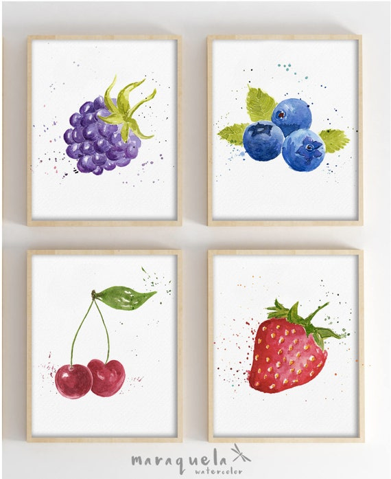 SET OF 4 Fruits in Watercolor. Blackberry, Strawberry, Blueberry Cherry.