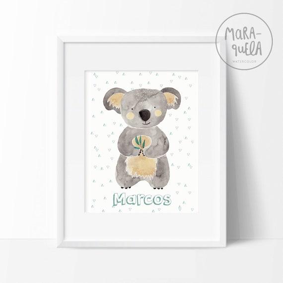 Lámina Koala / Watercolor koala print