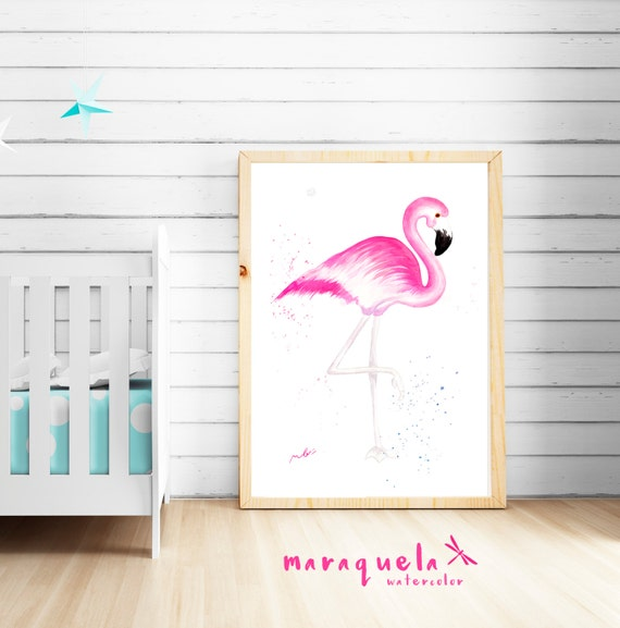 FLAMINGO Original WATERCOLOR hand-made  home decor, gift baby, art nursery, art wall. Art prints animals, gift ideas for her, flamingo art