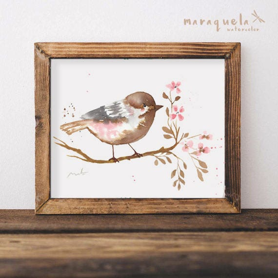 BIRD III illustration Watercolor Collection,art print birds, animals, nature, elegant birds,brown pink hues,home decor,sweet birds painting