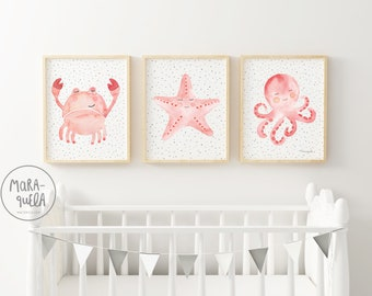 Herminio crab Set, light pink shades - crab, starfish and octopus - light pink colors palette, baby girl's room and kids