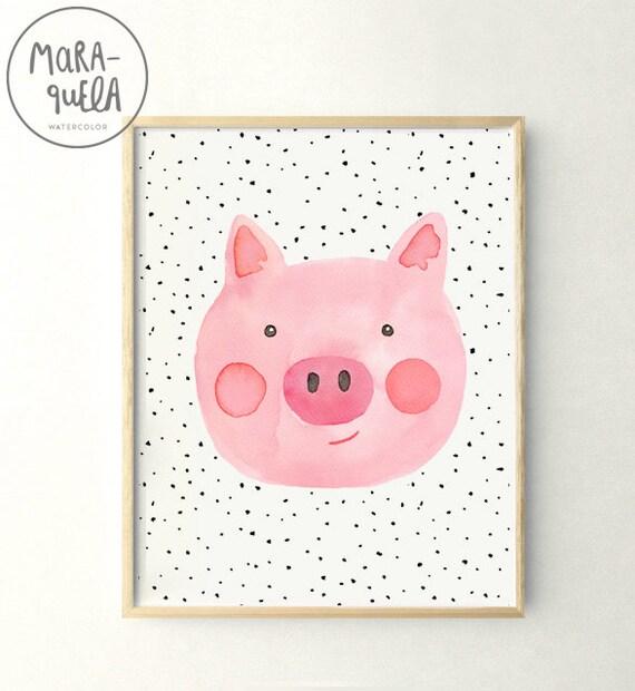 Ilustración CERDITO infantil, acuarela /  Little PIG, print in watercolor