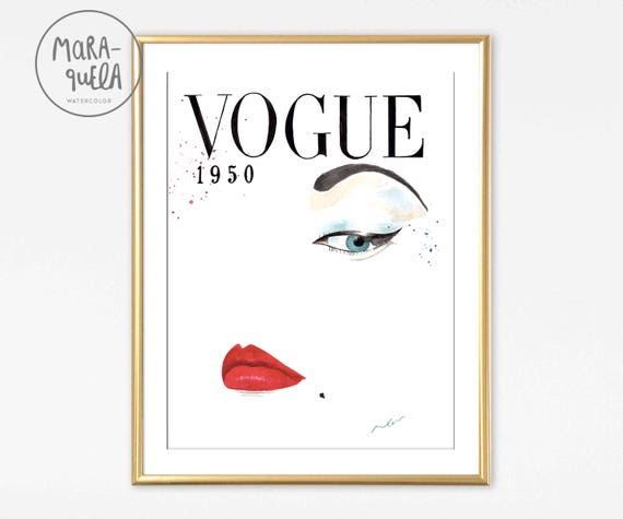 VOGUE COVER illustration 1950 Watercolour painting handmade.