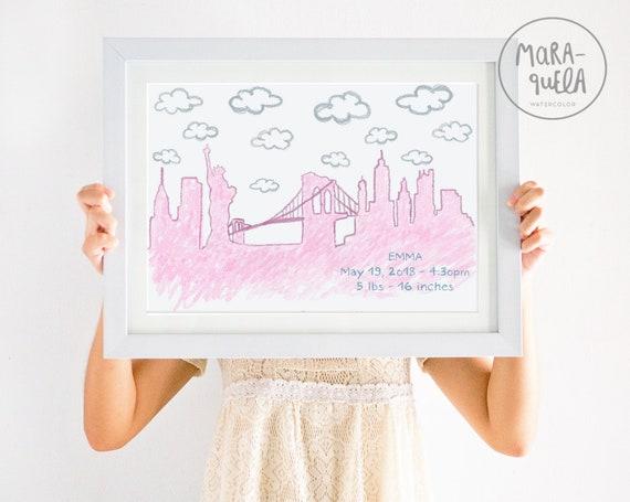 SKYLINE NY infantil/ NY skyline, Birth data for newborn