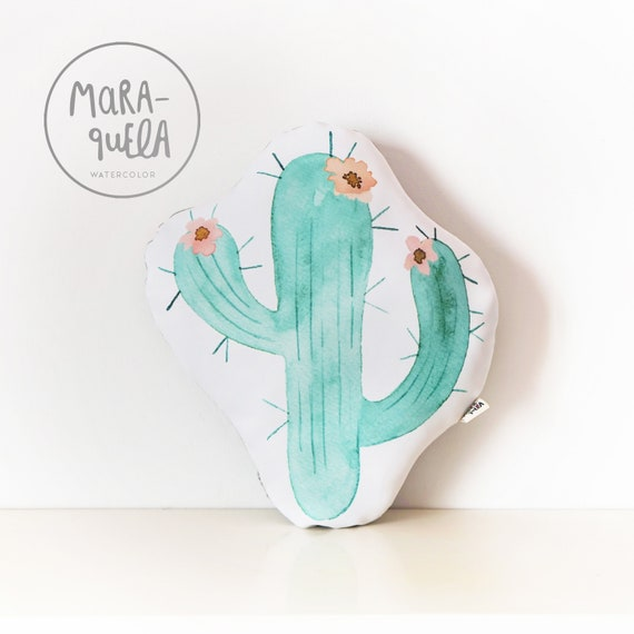 Cojín CACTUS Mint y Gris / Mint CACTUS Throw Pillow with Peach Pink Flowers