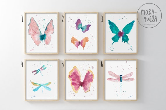 DISCOUNT Set of Butterflies and Dragonflies, watercolor handmade.