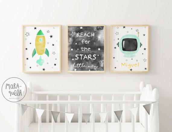 SET Astronauta Espacial verde Mint y amarillo / Mint Baby decor - ASTRONAUT Set