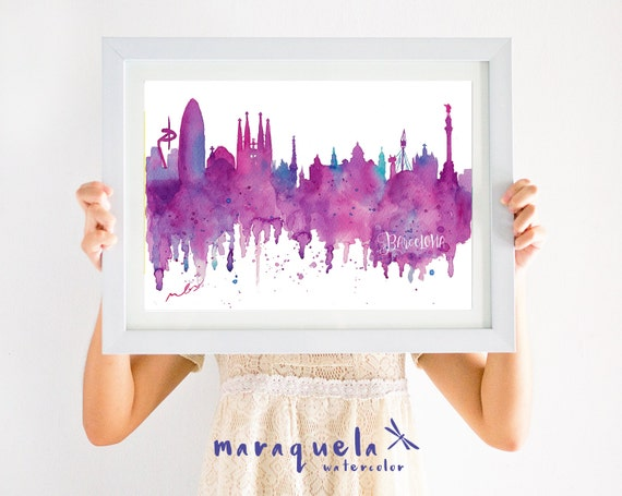 BARCELONA Skyline pink and blue hues, watercolor, affiche Barcelona, Spain, art print, poster Barna gift Bcna , decoration Barcelona travel
