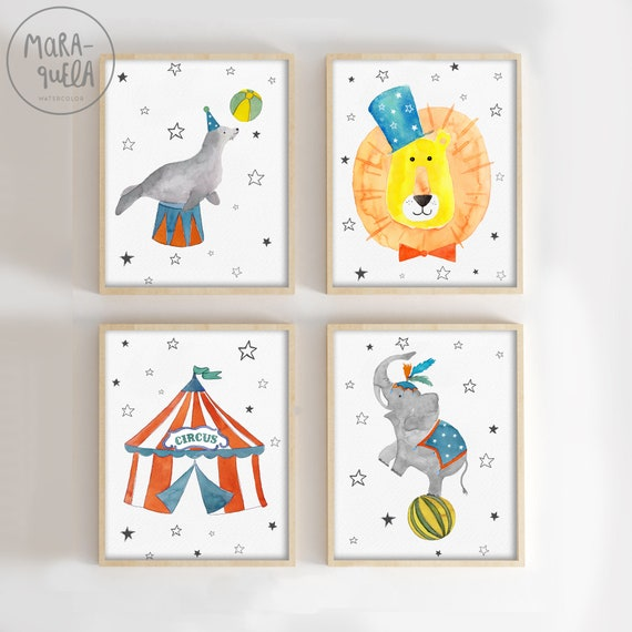 SET Circo 4 ilustraciones / 4 Watercolor Circus Set
