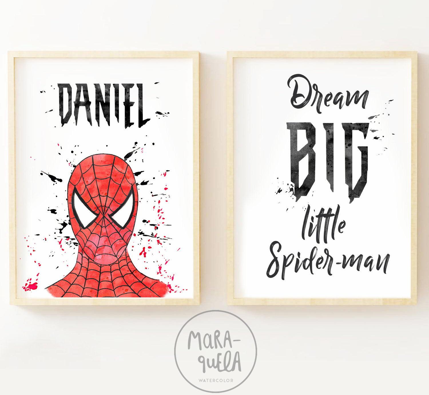 SPIDERMAN SET Superhero sleeps here. Watercolor print boy | Etsy