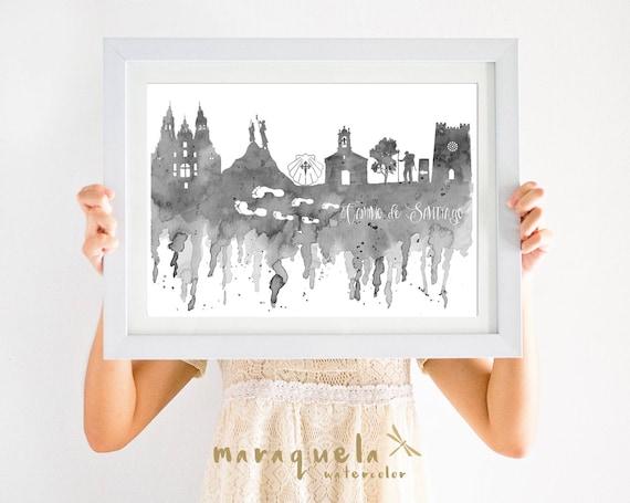 Route of SANTIAGO Compostela Skyline Blue Gray hues,camino de Santiago,Way of St. James,Spain art print, poster gift memory travel,pilgrim