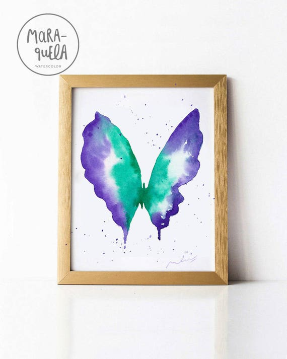 Green Violet BUTTERFLY Watercolor hand painted.