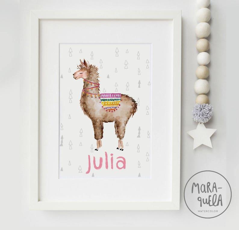 Nursery LLAMA watercolor  Custom llama illustration image 0