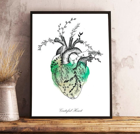 Floral HEART watercolor,anatomy,flowers,beige and green,grateful heart,quote,original decor,wall art print,illustration,gifts,lovely poster